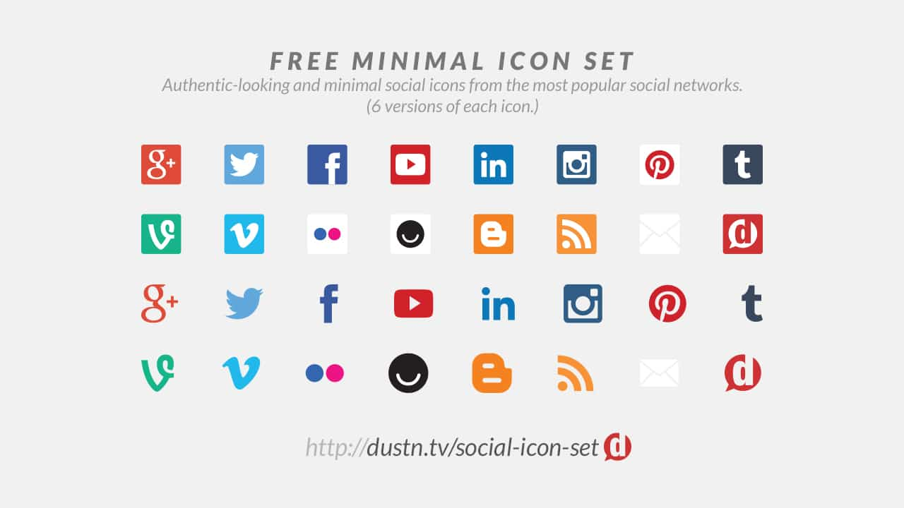 minimal social media icon set