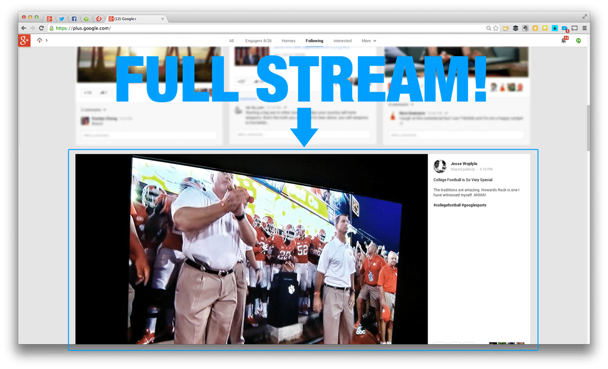 full stream on google+