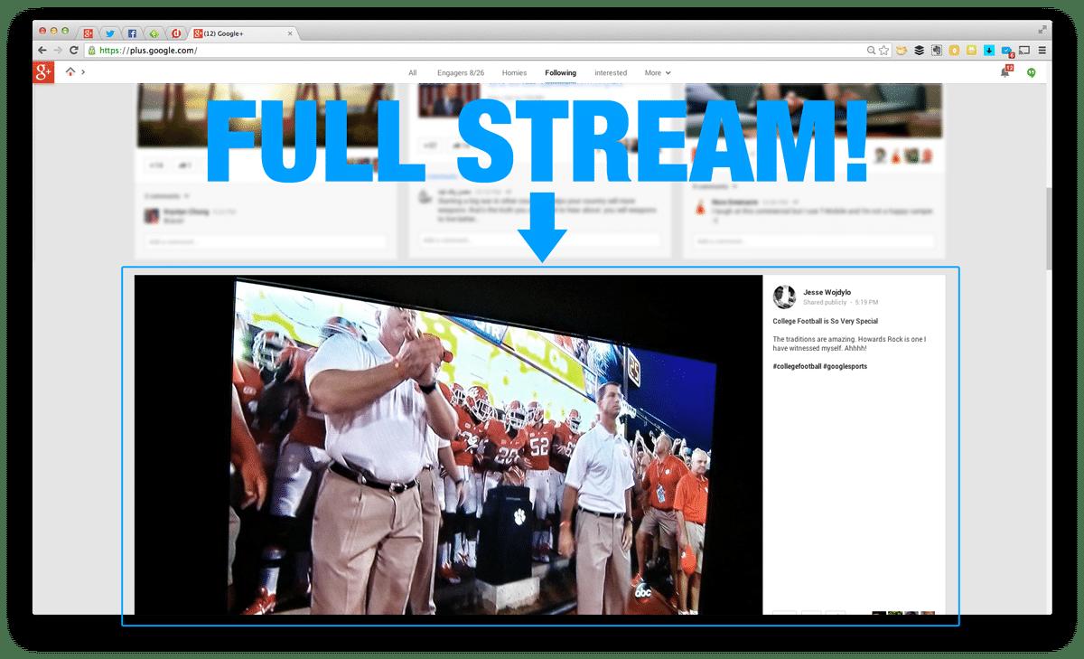 full stream on google+