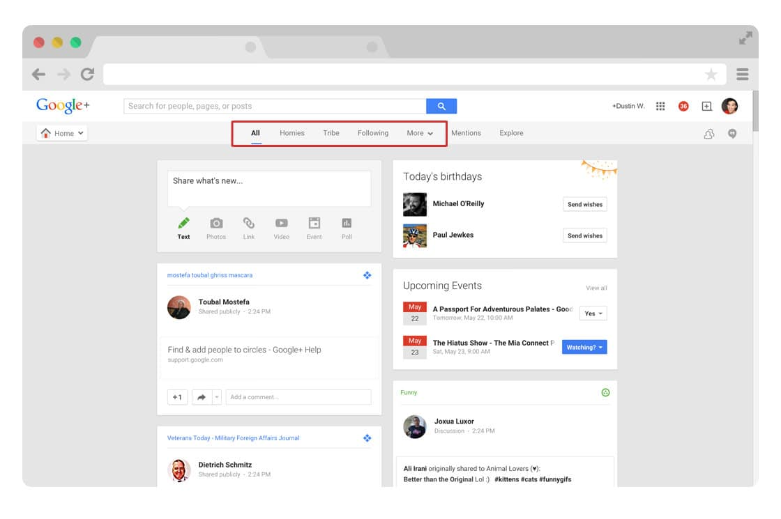 Google Plus circles stream