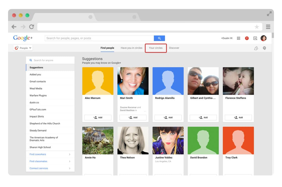 Google Plus find people page