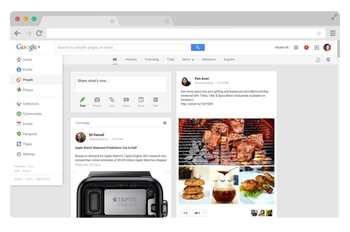 Google Plus navigation menu