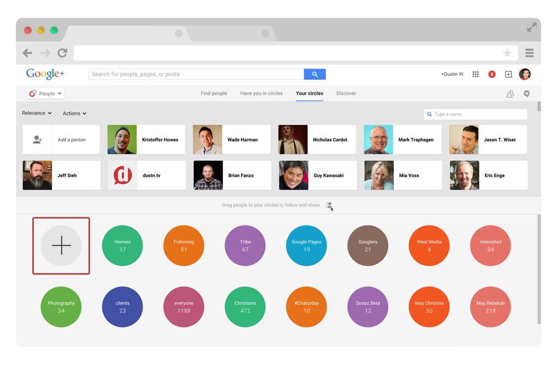Create new Google Plus circle