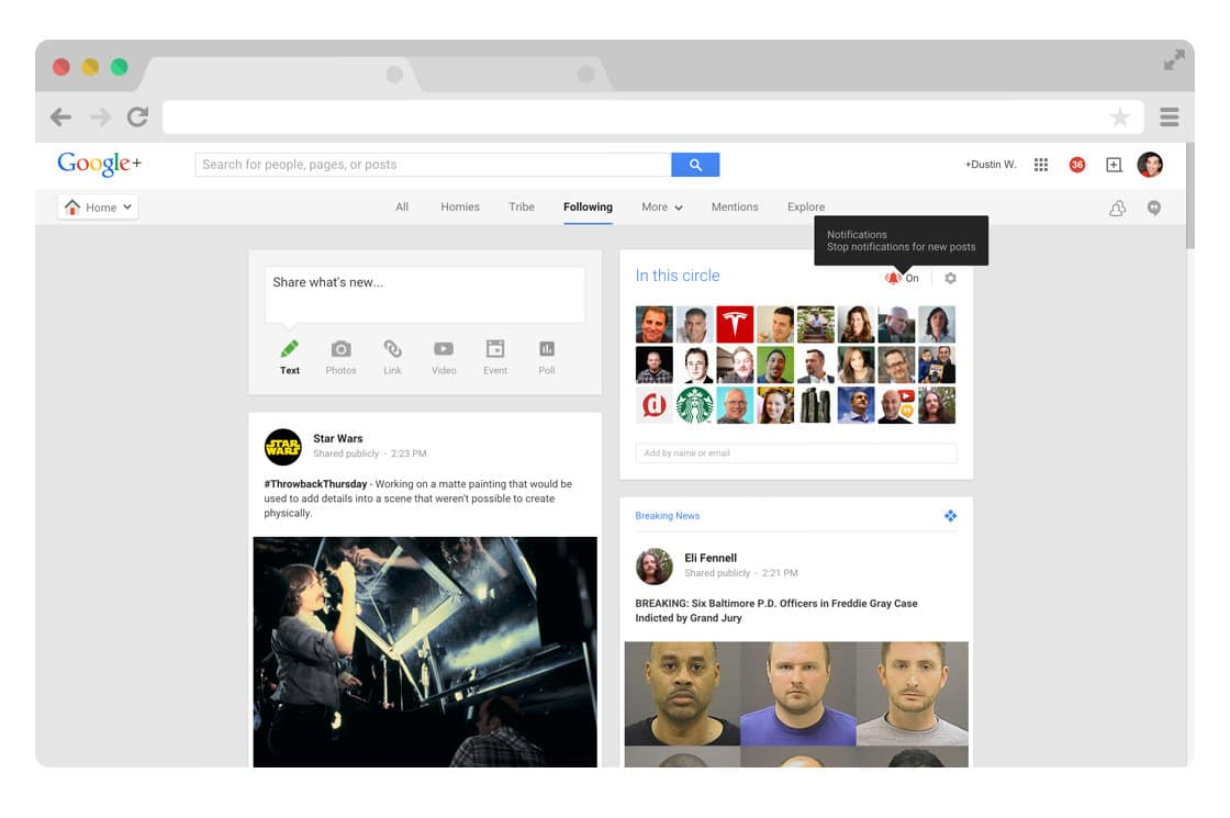 Google Plus notification circles