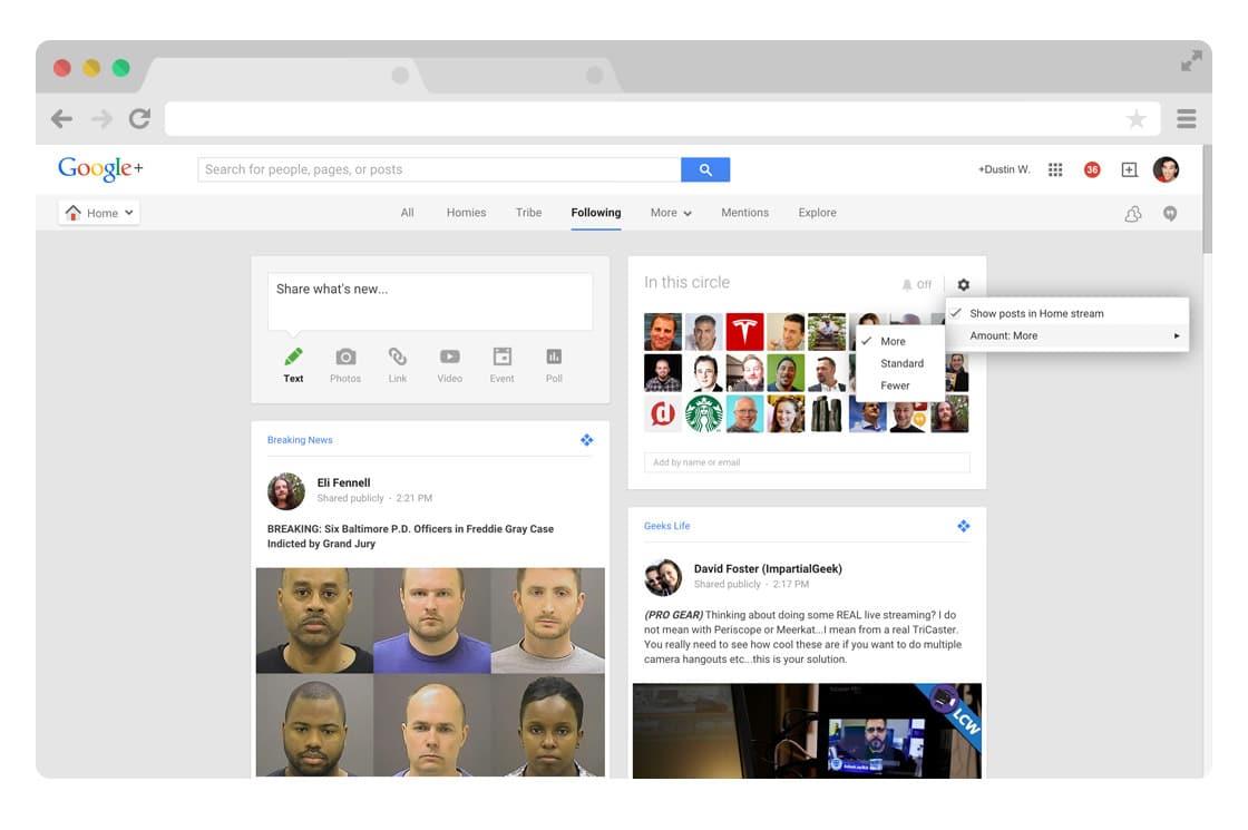 Google Plus circle stream volume