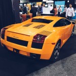 back end of an orange lamborghini