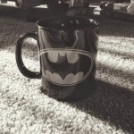 black and white batman mug