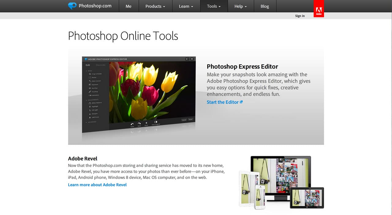 screenshot of photoshop express website