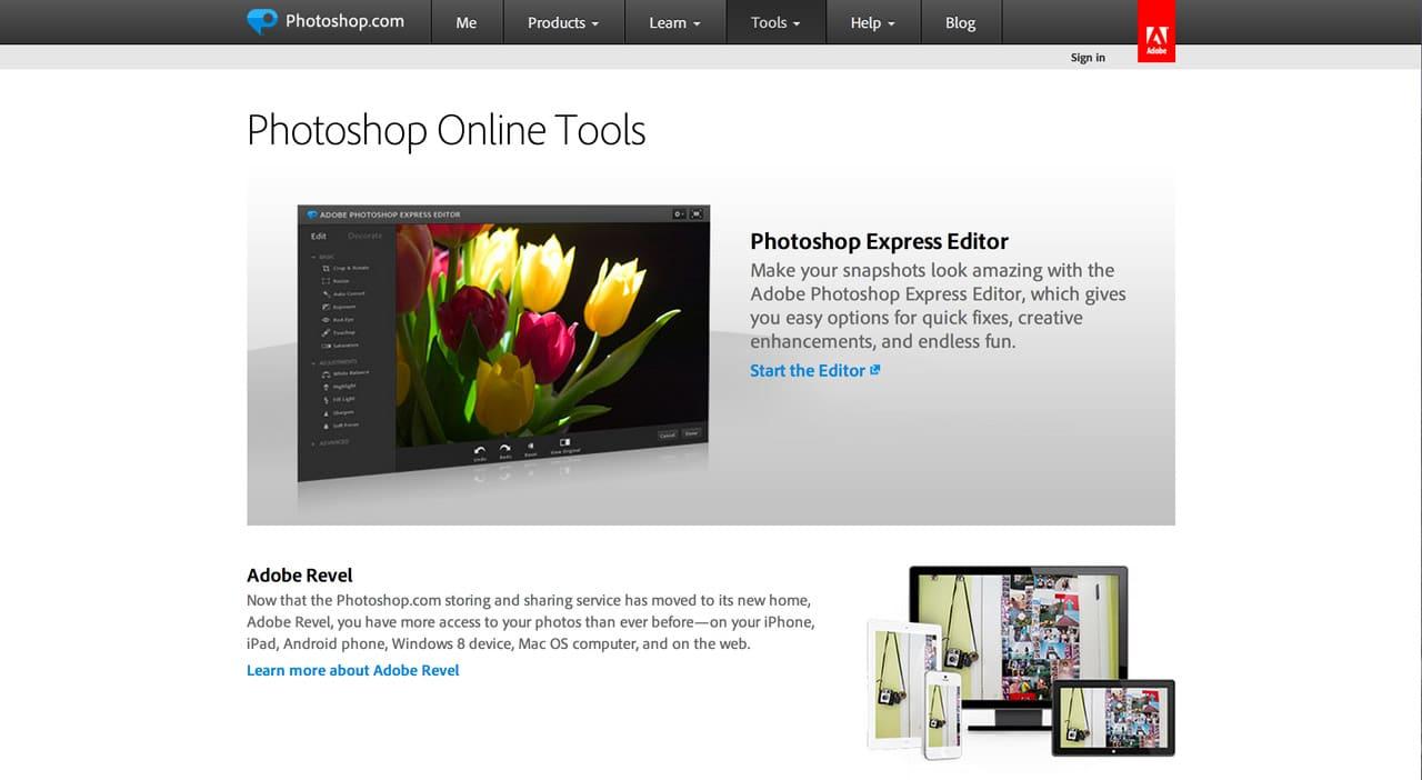 screenshot of photoshop express website