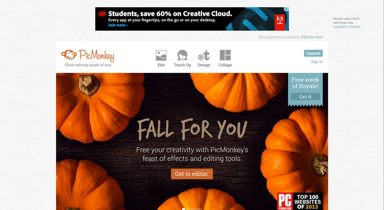screenshot of picmonkey.com