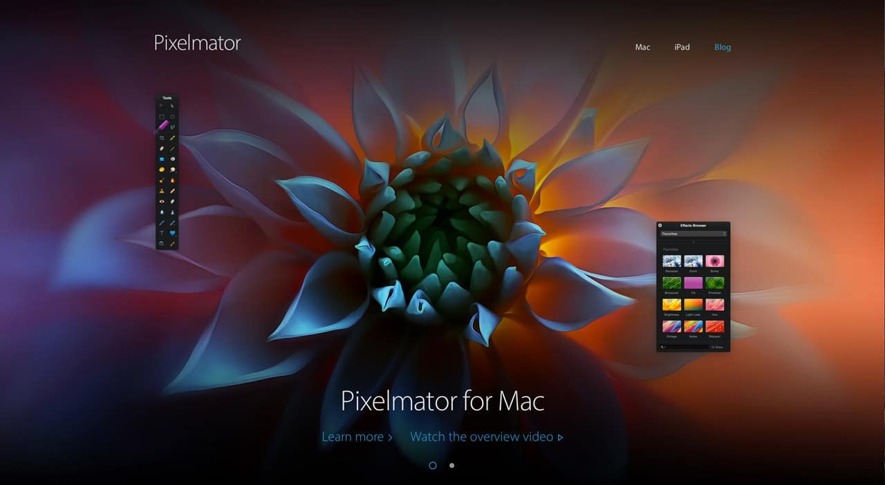 screenshot of pixelmator website
