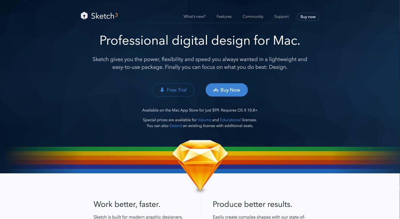 screenshot of sketch website