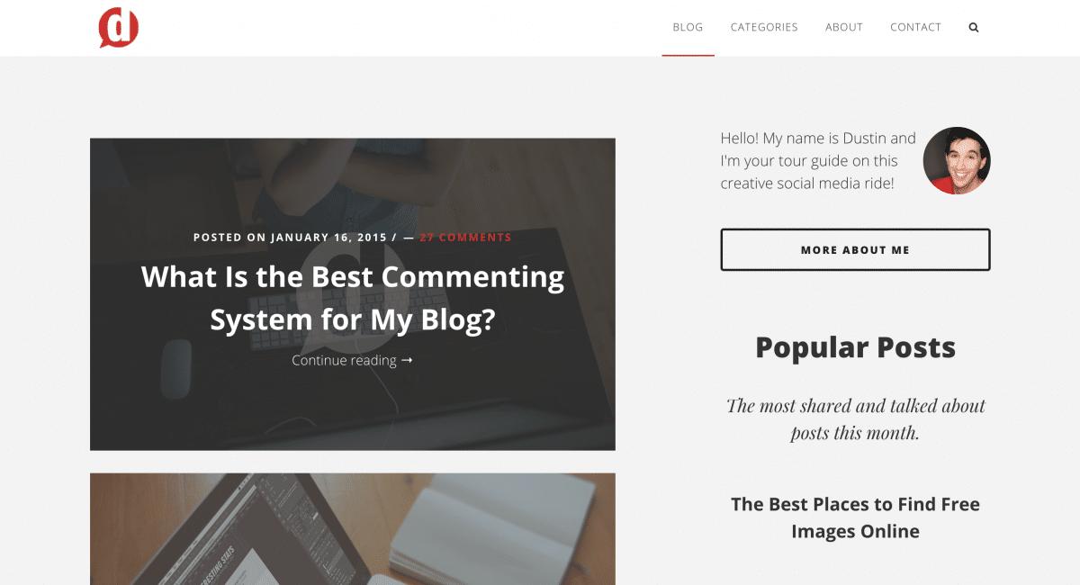 dustinstout.com blog layout