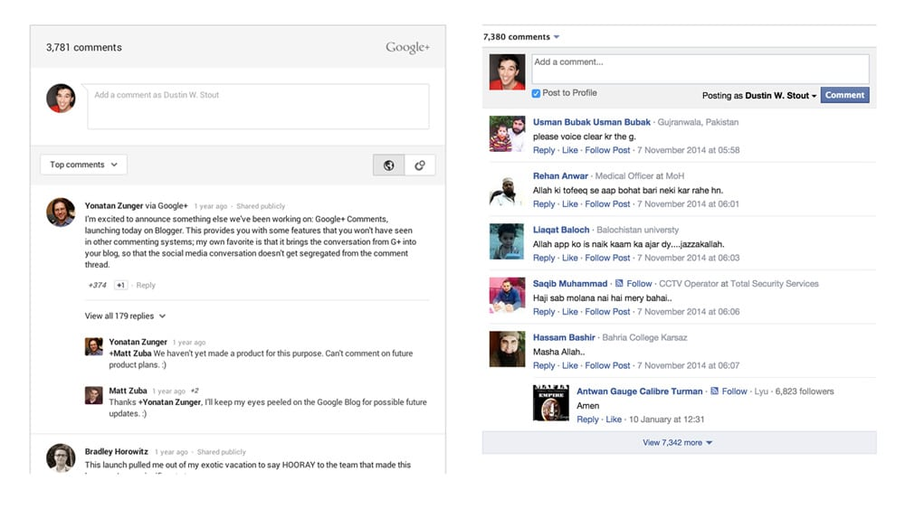 Google+ and Facebook commenting systems