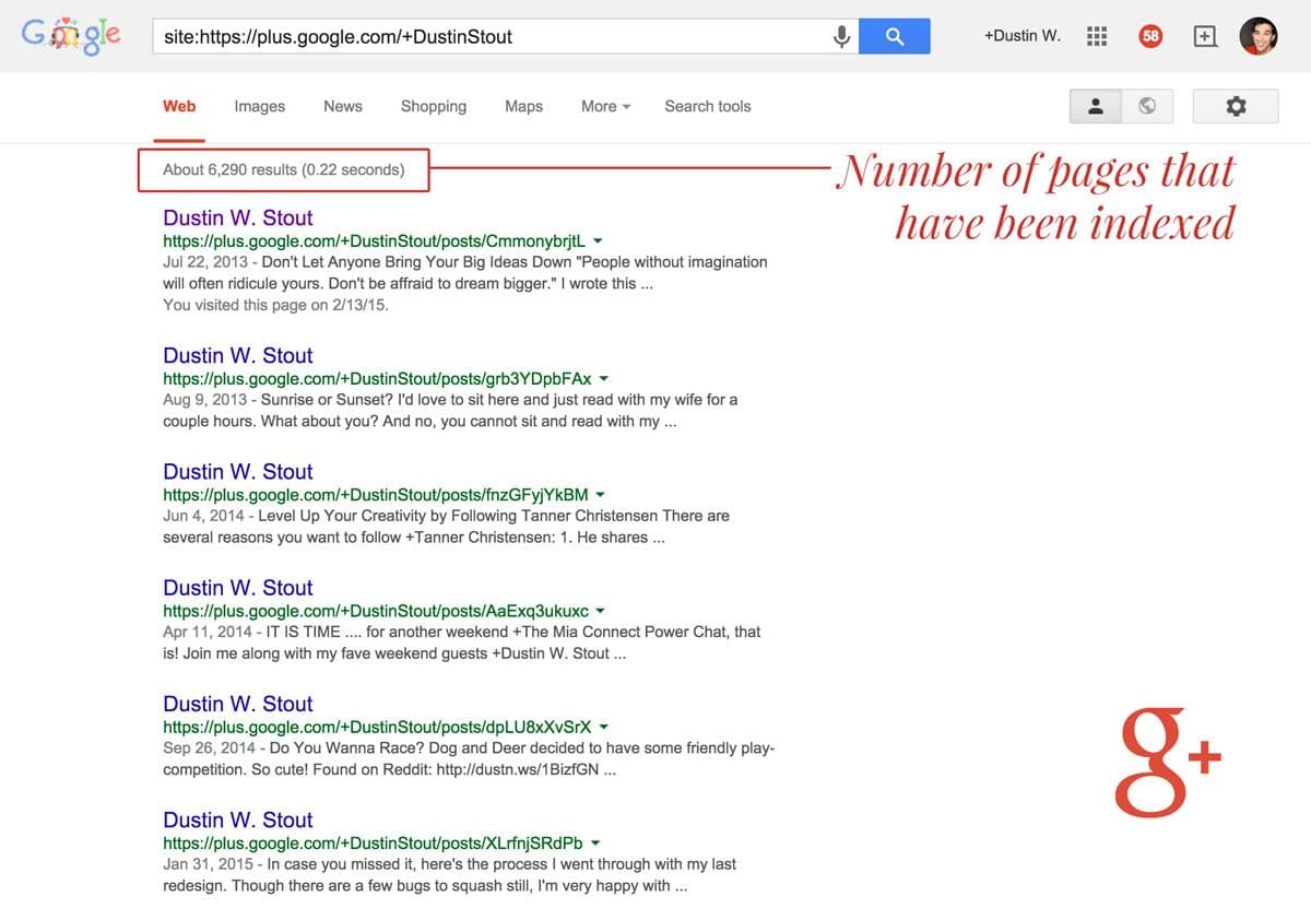 number of google+ posts indexed