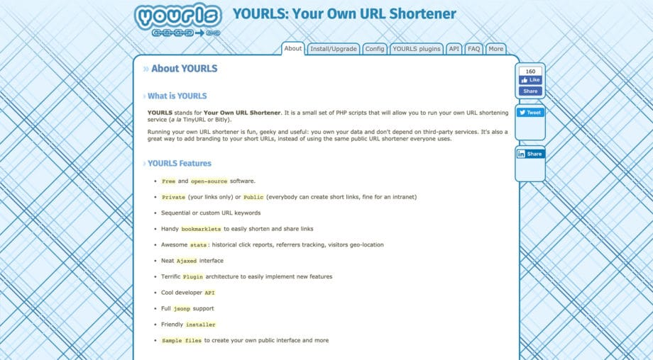 yourls.org homepage