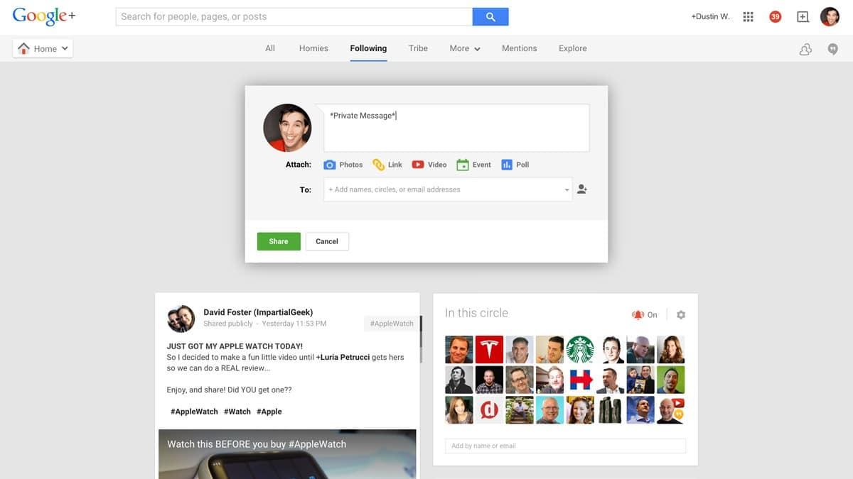 new google+ private message