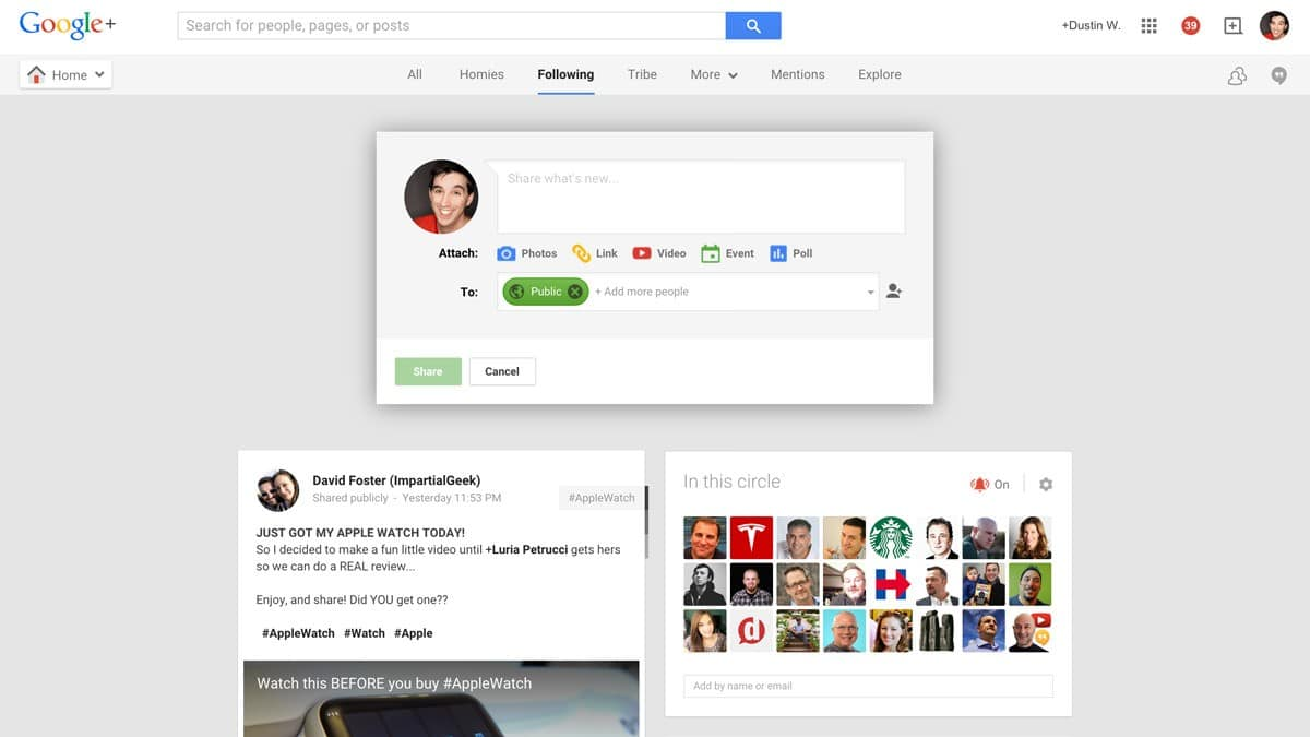 new google+ post