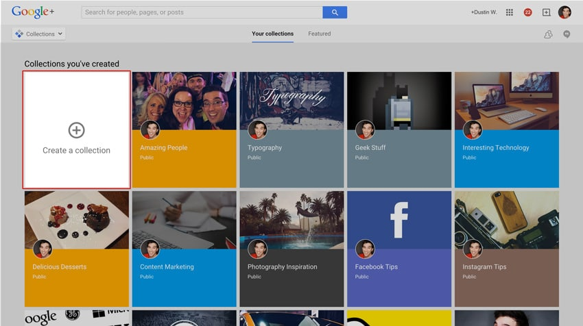 create a new google plus collection
