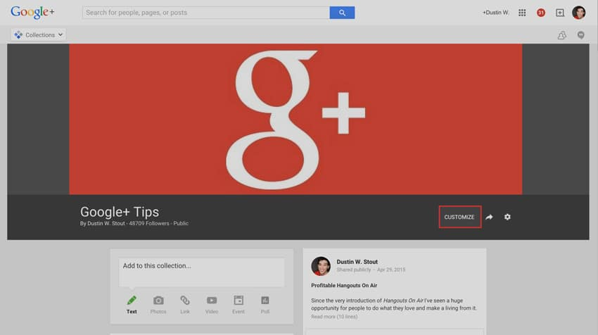 customize google plus collection