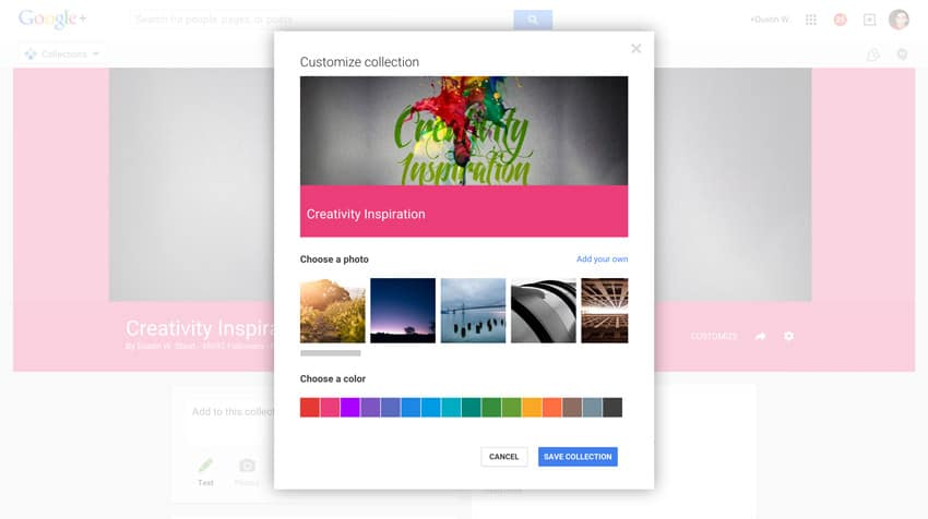 google plus customize options