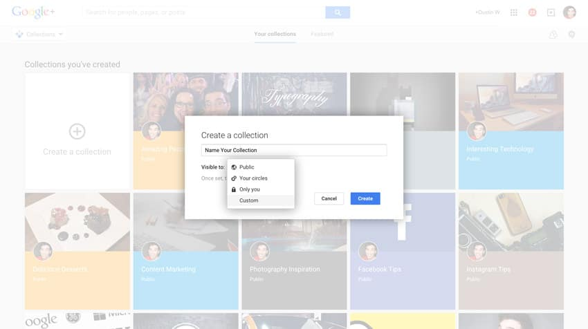 name and set privacy settings for your google plus collection