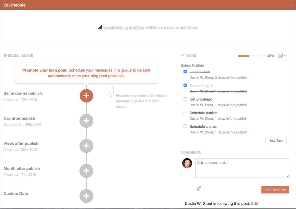 CoSchedule share schedule screenshot