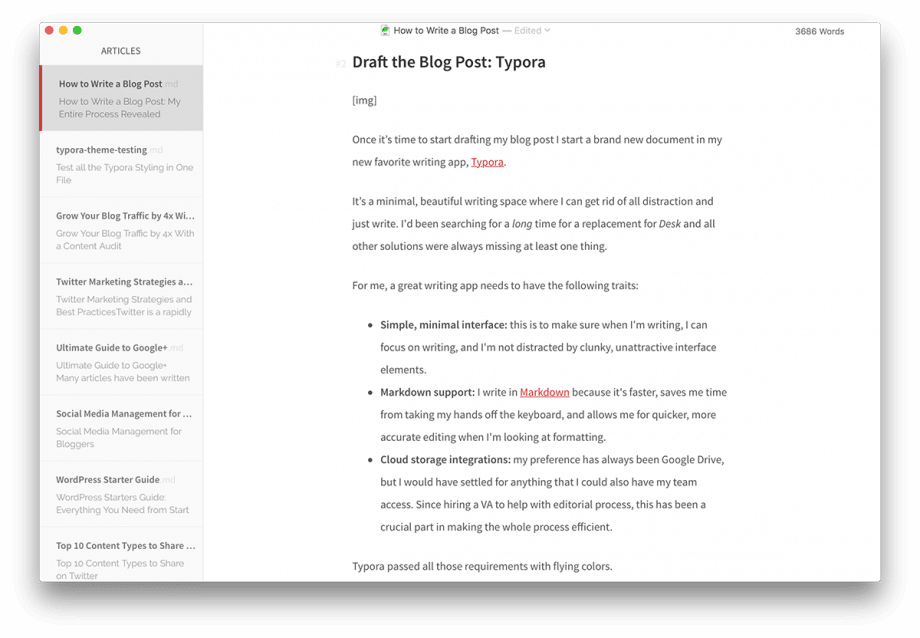 screenshot of typora app with how to write a blog