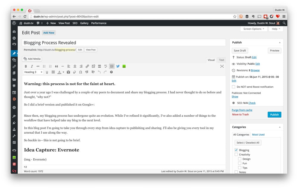 WordPress editor screenshot