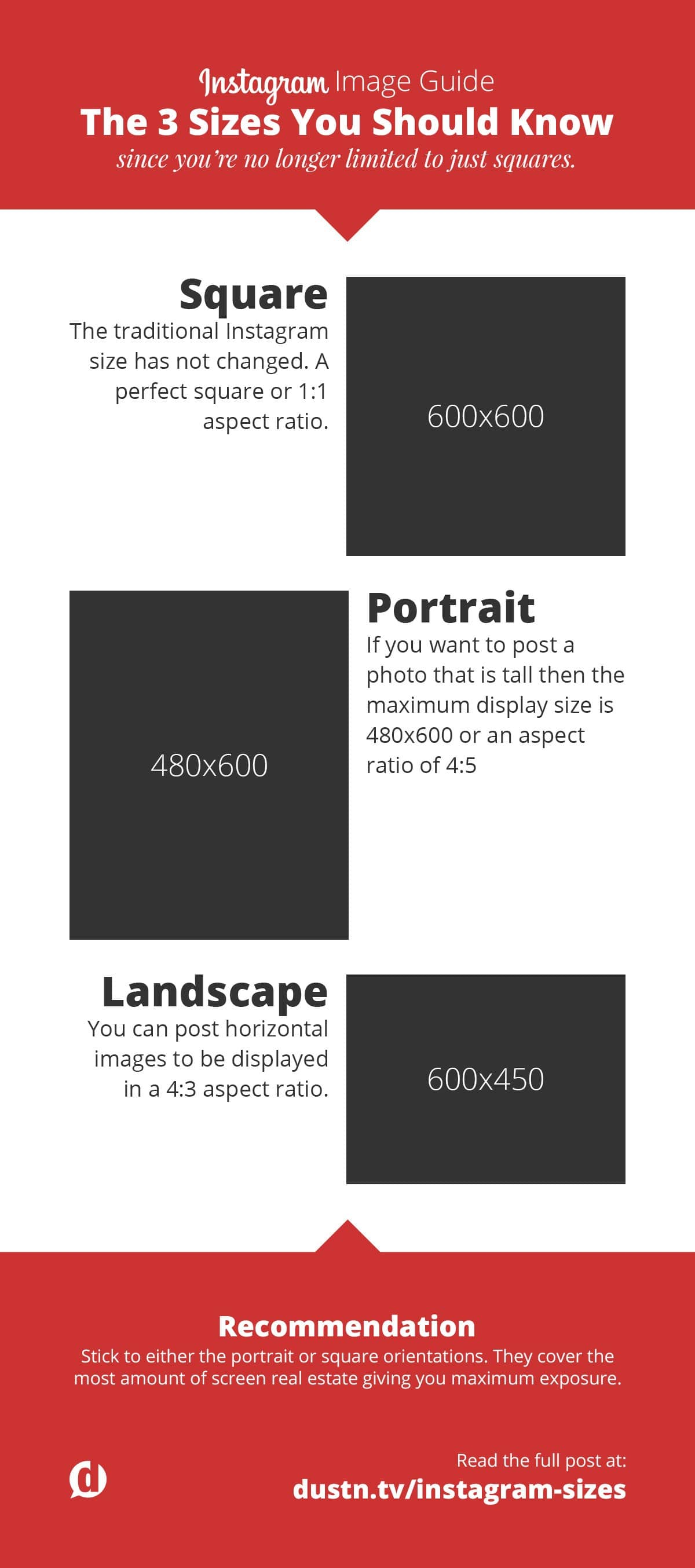 Instagram sizes infographic