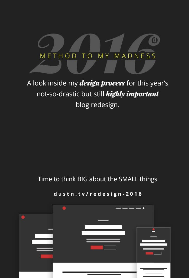 Every year I've done a complete blog redesign, launched at the beginning of the year. This year, however, I've decided to think big… about the smallest things.