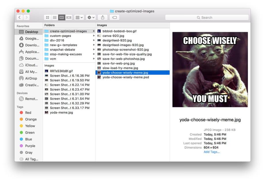 screenshot of examples of file names