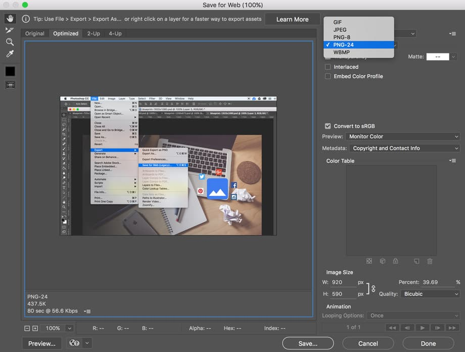 screenshot for photoshop save for web as png