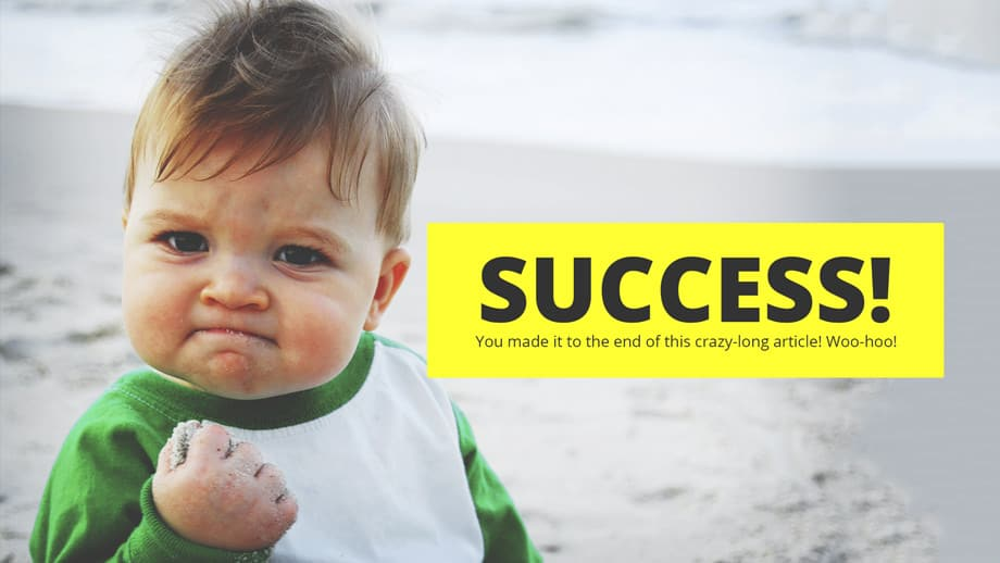 meme of baby clenching fist in success