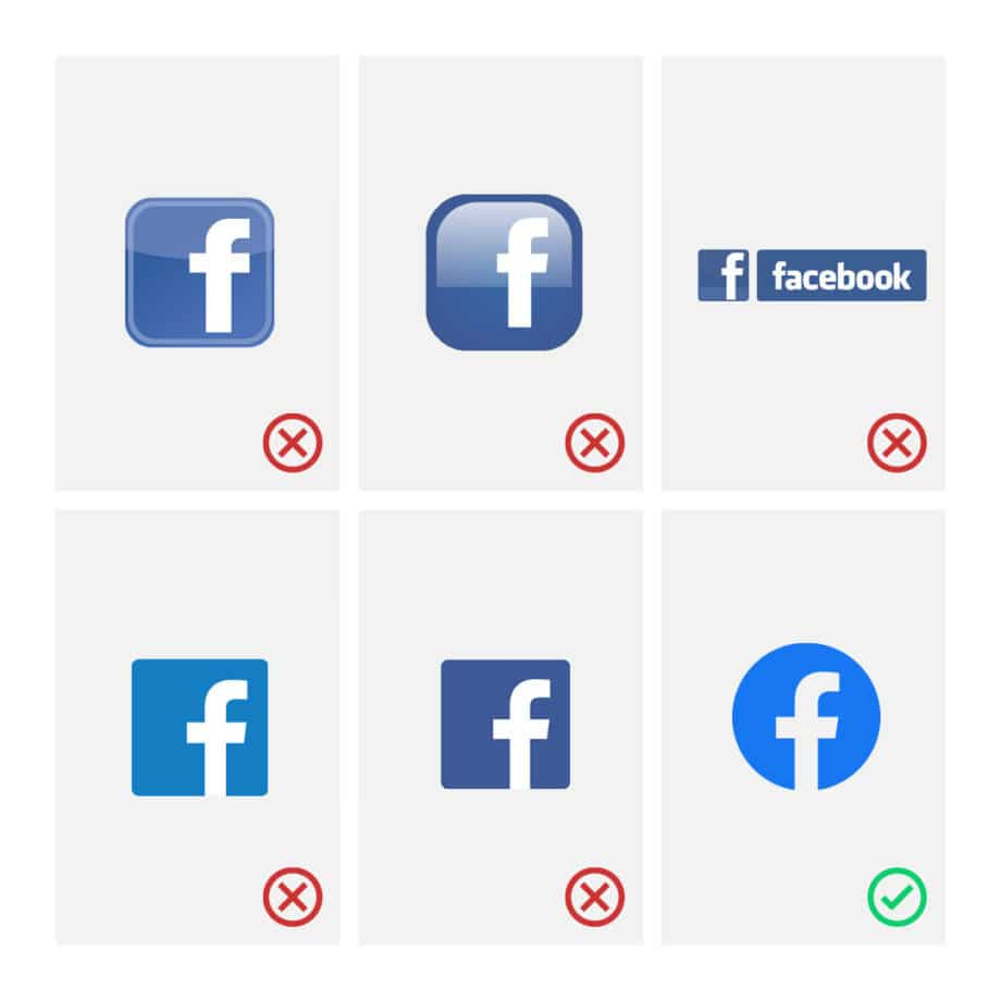 facebook wrong logos vs correct