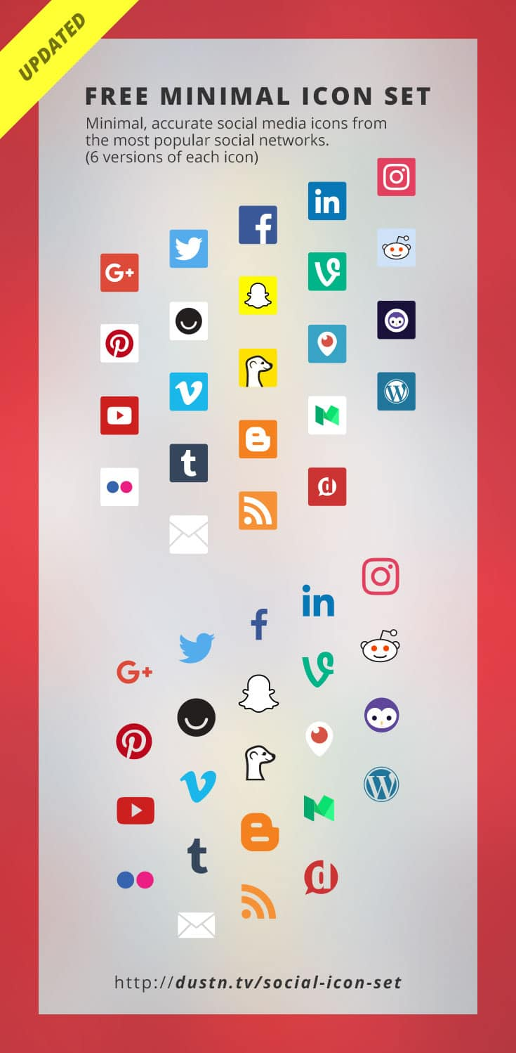 Authentic-looking, always updated and minimal social media icons from the most popular social networks. (6 versions of each icon is 138 icons!)