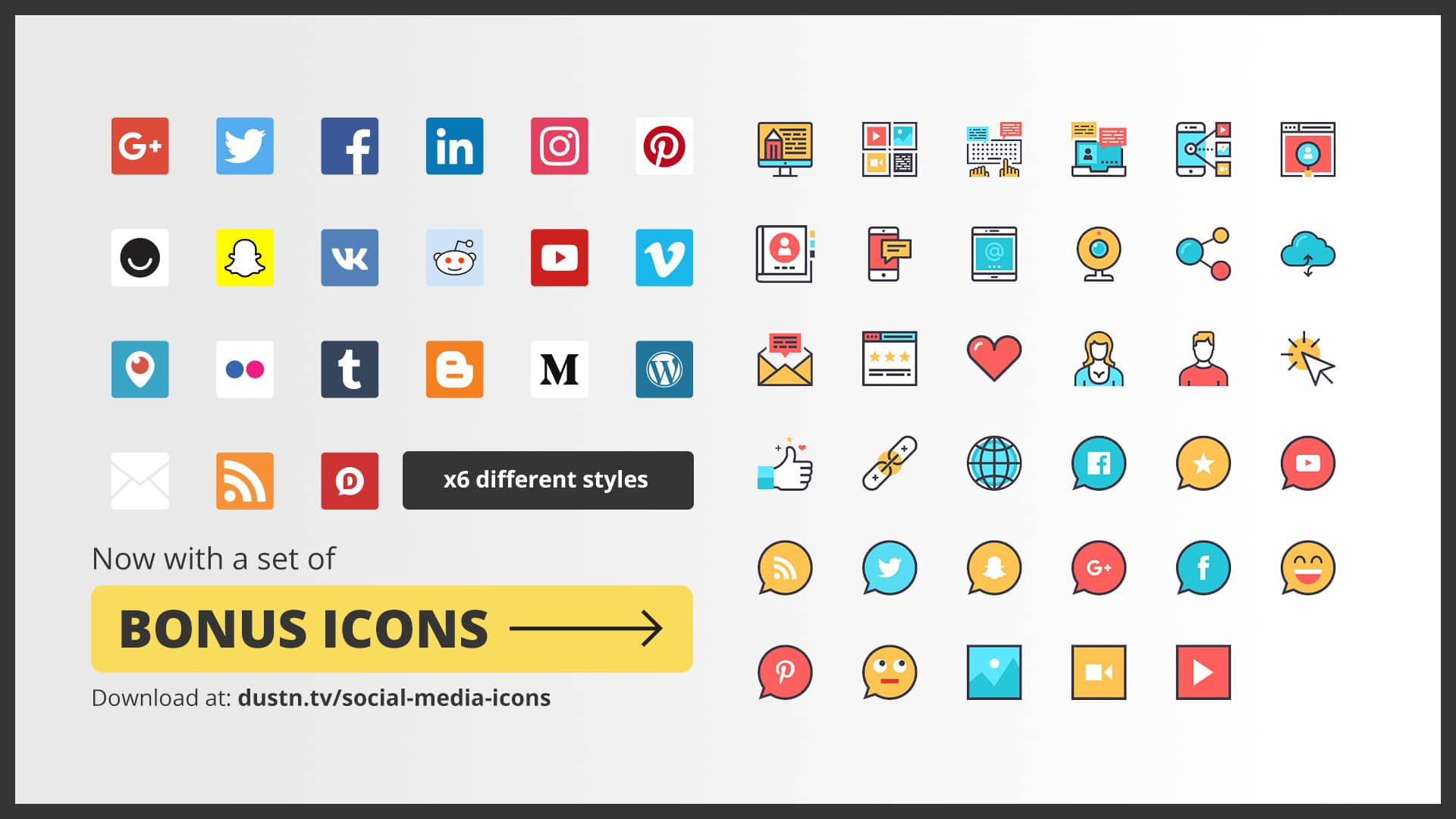 social media icon set preview