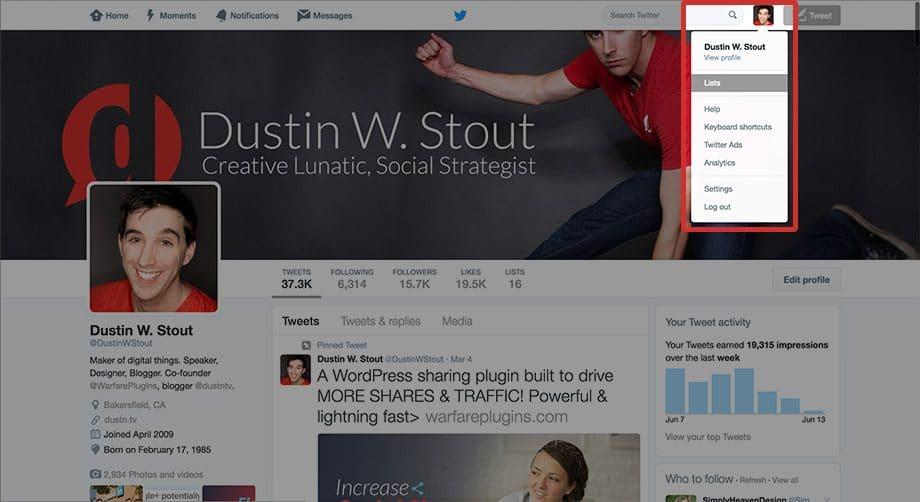 twitter lists navigation on desktop