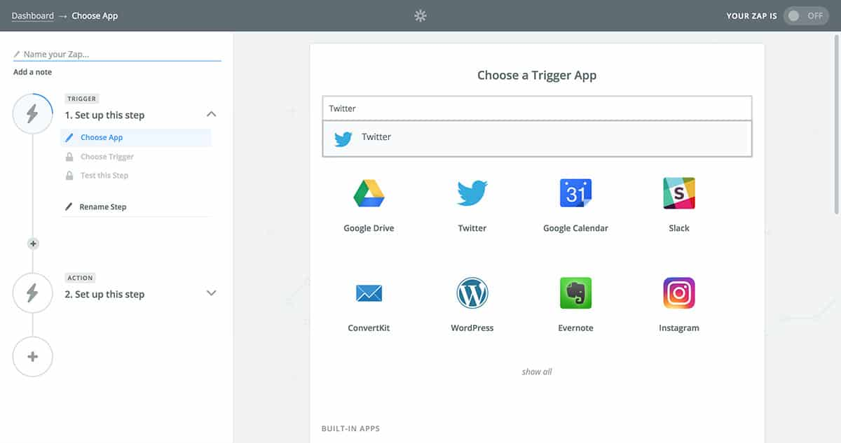 Search for Twitter Trigger app