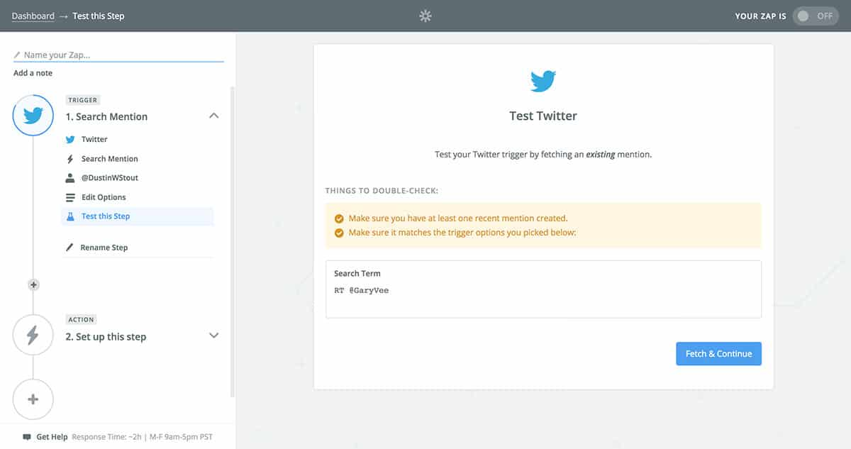 Fetch Twitter search query