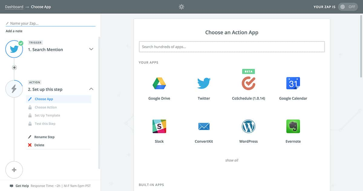Select Zapier action app