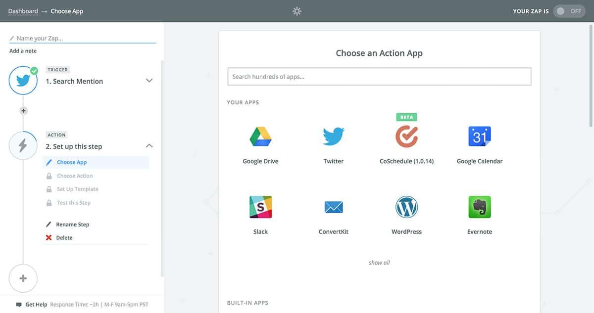Select Zapier action app