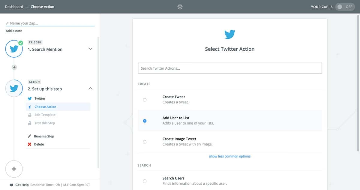 Select Twitter list action