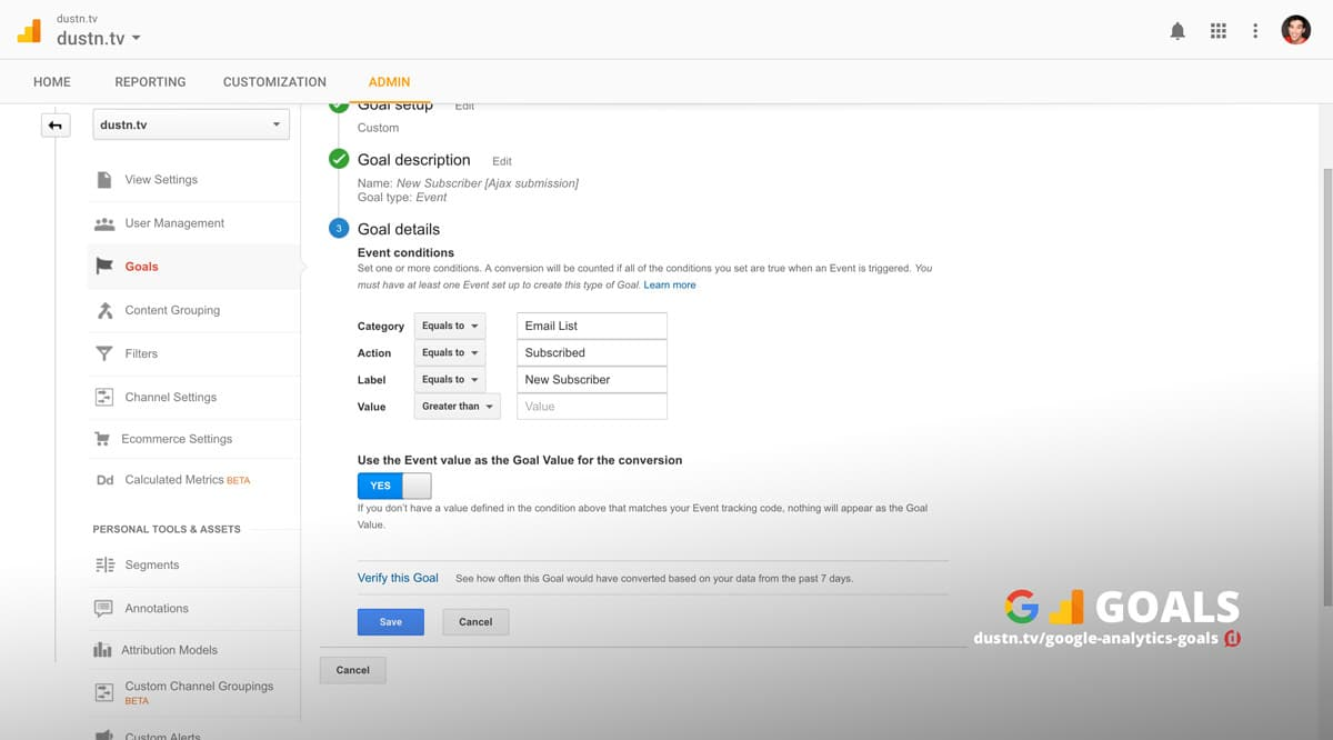 google analytics event goal