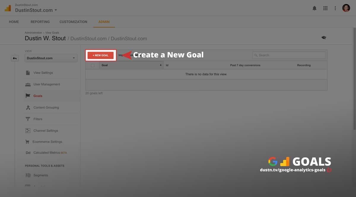 create a new google analytics goal