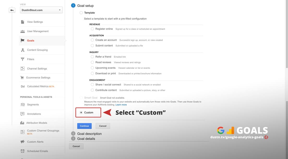 google analytics goal setup custom