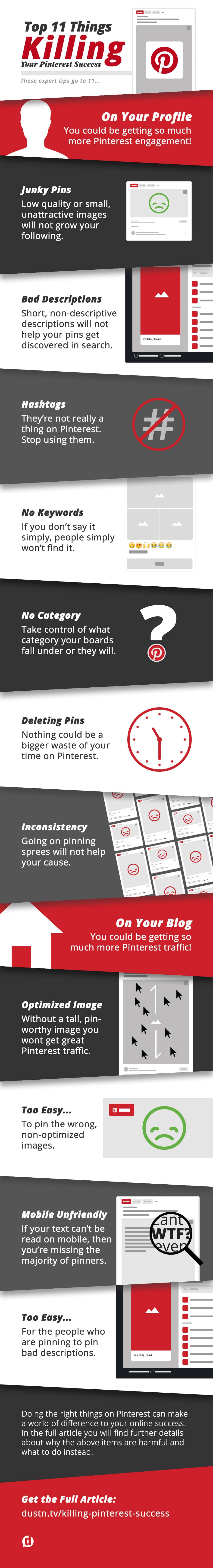 11 things destroying pinterest success infographic