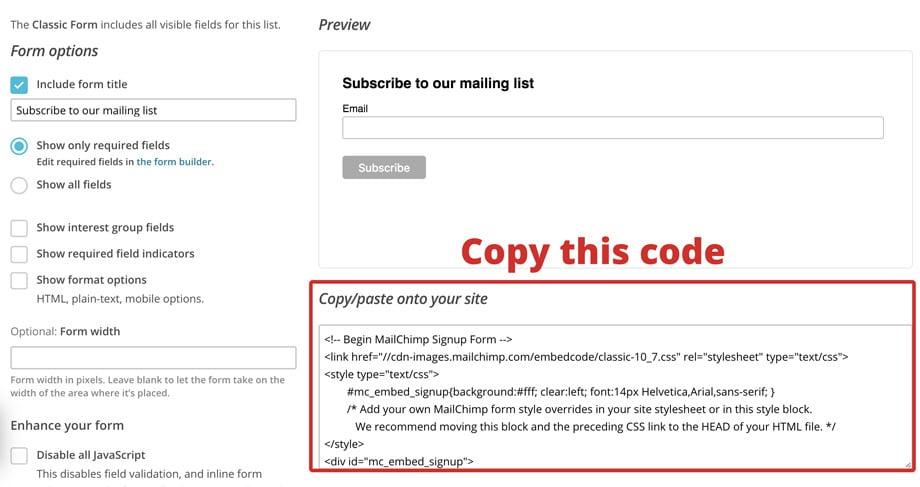 copy mailchimp embed code