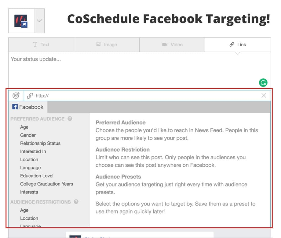 coschedule facebook targeting