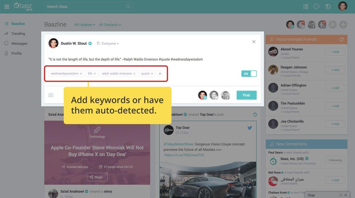 keywords option on baaz